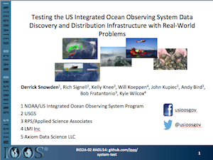Testing the US Integrated Ocean Observing System Data Discovery and Distribution Infrastructure with Real-World Problems