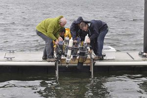 ACT team deploying sensors for a Technology Verification in the Chesapeake Bay.