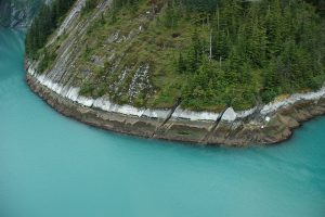 Aerial Photograph from Tracy Arm Alaska showing erosion patterns in rockface