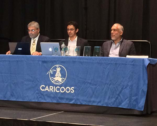 Julio Morell, Miguel Canals, Ruperto Chaparro– getting ready to open the CARICOOS Annual Meeting. Photo Credit: IOOS/NOAA