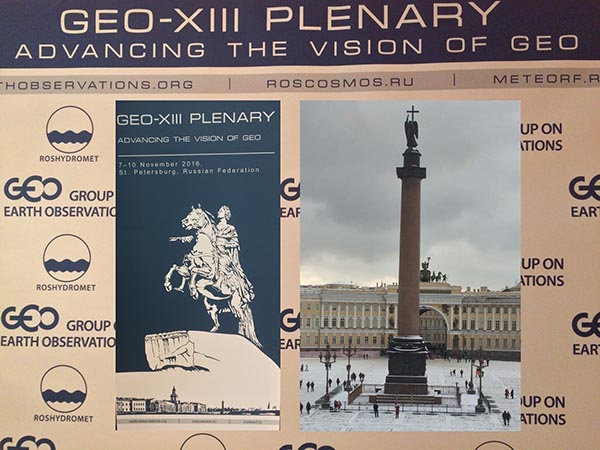 GEO-XIII Plenary with inset images of Palace Square in the snow and the GEO Poster.