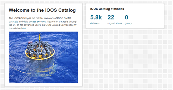 Image of the IOOS Data Catalog homepage