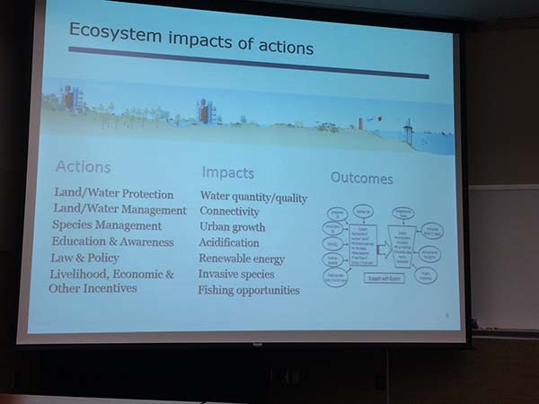 Powerpoint slide showing Major data needs: modeling summaries of model data; monitoring across gradients, data integration across state line, easy access to biological monitoring data.