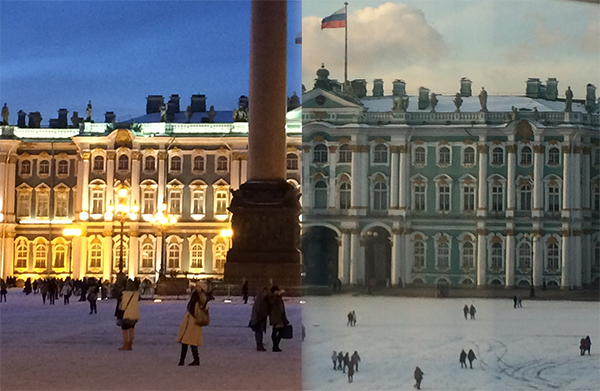 Night and Day comparison of the Winter Palace in the snow