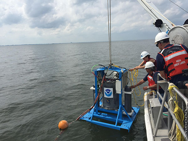 The ESPniagara sits inside a custom underwater stationary mooring during deployments. This photo was taken on July 12, 2017, during the ESPniagara's first deployment of the 2017 HAB season in Lake Erie.