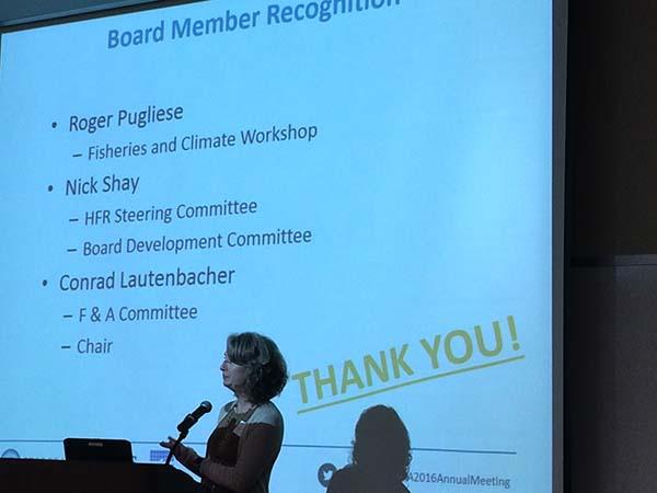Debra Hernandez says farewell to leaving SECOORA Board Members.