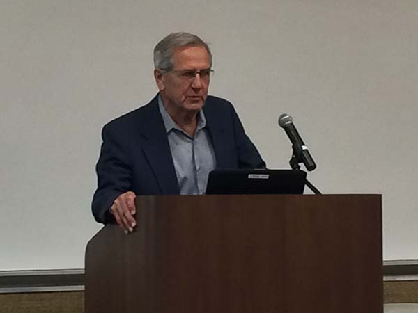 Dr. Ray Fornes, Associate Dean for Research, NCSU College of Sciences, speaks at podium