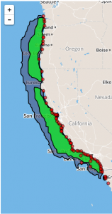 West coast coverage for 6km resolution HFR data for FY2016