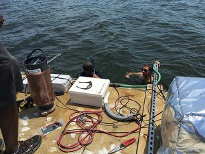 installing the NOC sampling equipment in the river