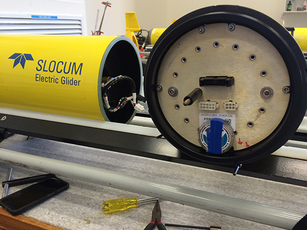 NOAA coin fitted to interior of Slocum glider as ballast.