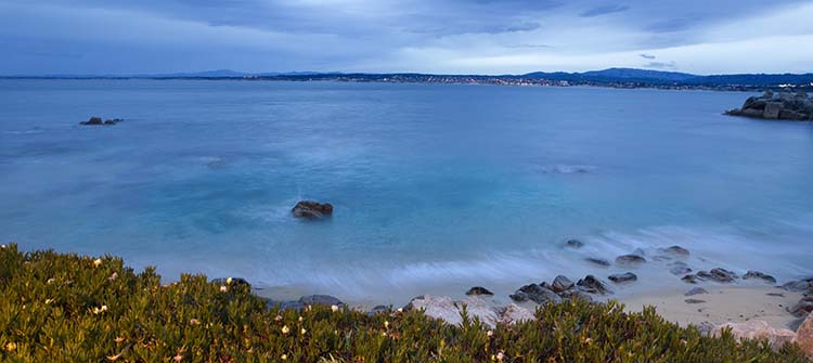 View across Monterey Bay with Monterey in background.