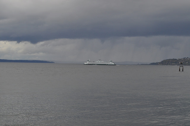 Ferry crossing Puget Sound on a grey day