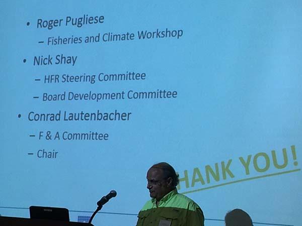 Roger Pugliese speaks at podium