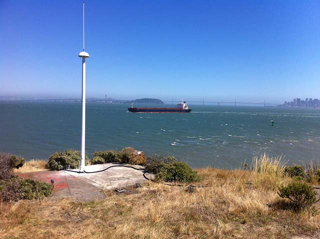 A high-frequency radar installation along the Pacific near San Fransisco Bay.