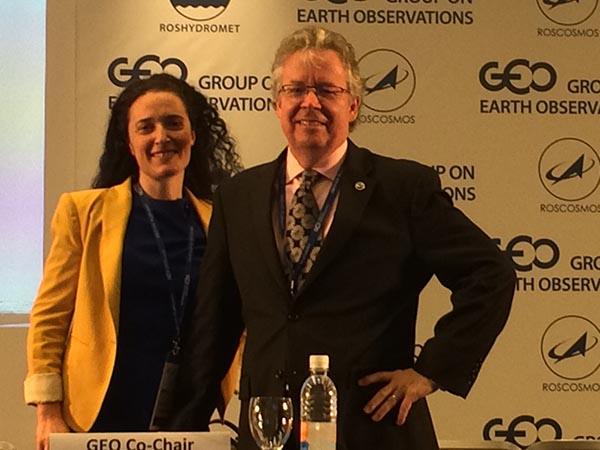 U.S. Delegation lead Stephen Volz, NESDIS Administrator with U.S. Delegation team member Yana Gevorgyan