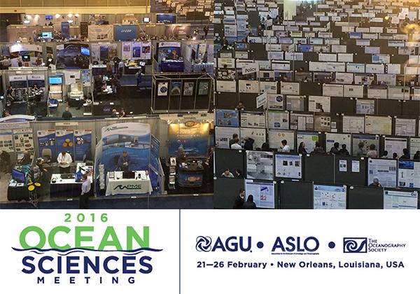 Overhead shots of AGU: Ocean Sciences exhibit halls
