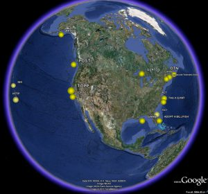 Animal Telemetry programs/projects in North America (yellow dots). Credit: IBCAO.