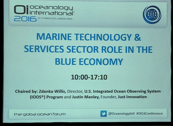 photo of powerpoint slide promoting a session on marine Technology and services sector role in the blue economy