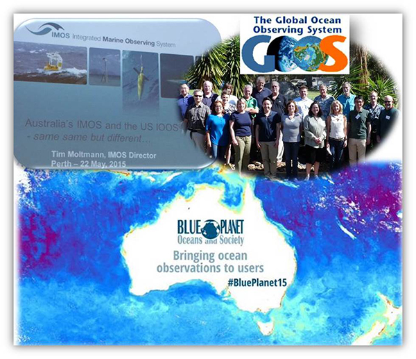 Collage showing banner for Blue Planet meeting, GOOS logo and photo of team, and a power point slide