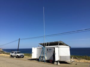 Temporary HF radar site, housed inside a trailer, at Gaviota, California in response to the Refugio Beach oil spill.