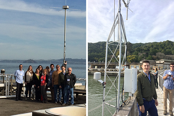 Left: site of one of 26 CeNCOOS High Frequency Radars, which give us a good understanding of the water flow inside the San Francisco Bay. Right: CeNCOOS has its shore station on the end of the pier. These are the meteorological sensors. Photo Credit: IOOS/NOAA