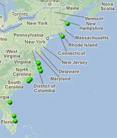East Coast CDIP buoys