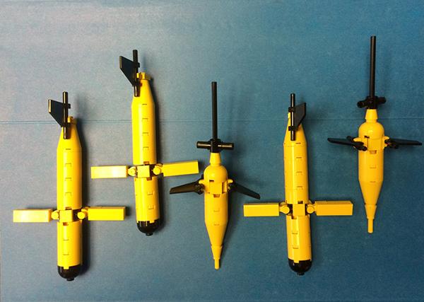 5 assembled lego gliders