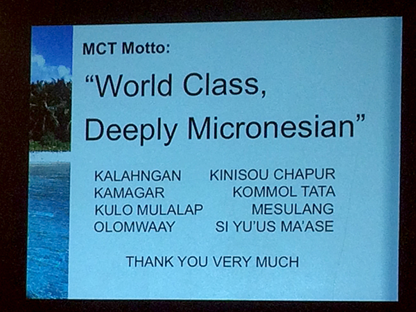 photo of a powerpoint slide listing the board members of Micronesia Conservation Trust