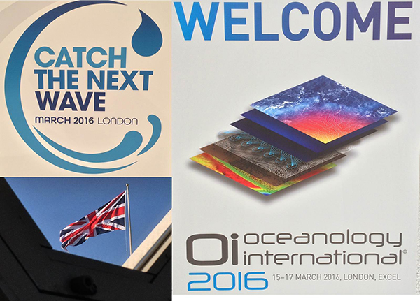 Collage of Catch the Next Wave banner, Oceanology Int'l banner, and photo of union jack flag.