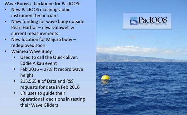 Powerpoint slide image of a buoy in the ocean, PacIOOS logo in upper right.