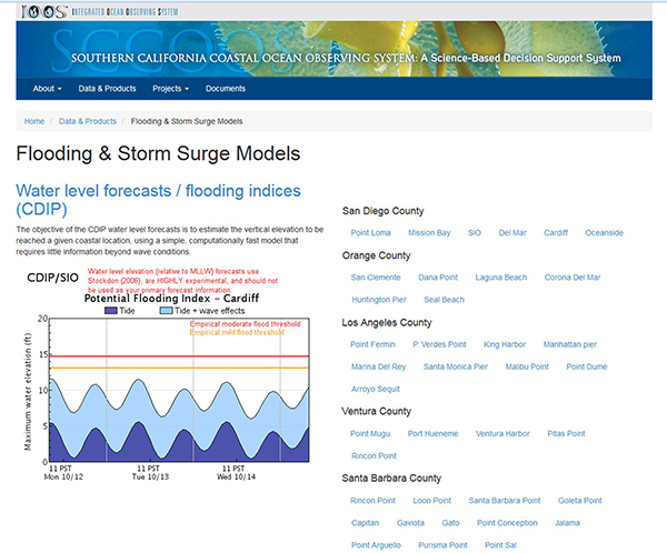 Screen image of SCCOOS' 3-day flooding data index page