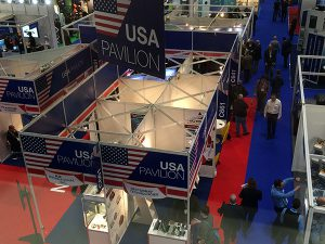 overhead view of exhibits in the USA pavilion