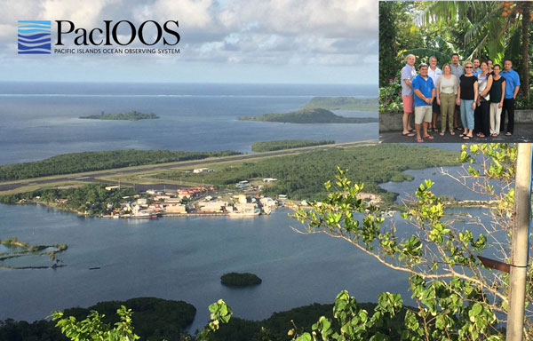 aerial photo of Pohnpei (Micronesia) with inset group photo of PacIOOS executive committee