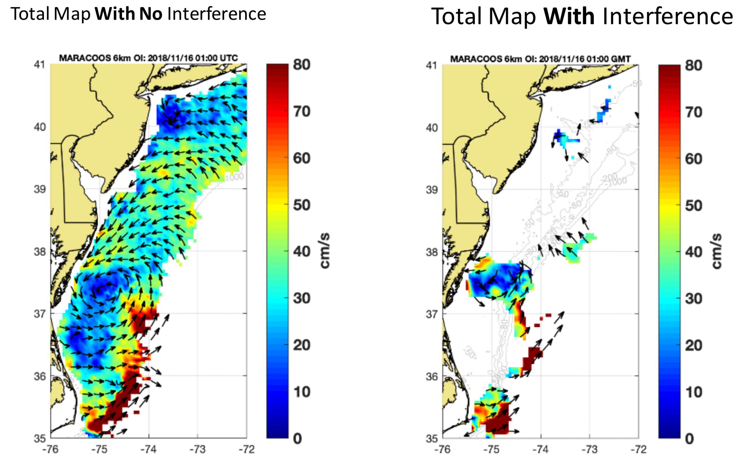Caption: A snapshot of the present-day coverage of HFR-based surface currents from the MARACOOS HFR array at left, with the current speed shown in color and the direction by the arrows. At right, the same snapshot, but with the portions that would be affected by all planned offshore wind energy installations within the Mid-Atlantic Bight removed. This simulation illustrates the worst-case scenario of potential future HFR observations of surface currents given the planned offshore wind energy installations.
