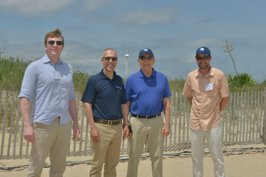 From left to right: US IOOS Surface Currents Program Manager Brian Zelenke; MARACOOS Executive Director Dr. Gerhard Kuska; National Weather Service Director Dr. Louis Uccellini; and US IOOS Director Carl Gouldman commemorate the launch of the new HF Radar off Lewes Beach, Delaware.