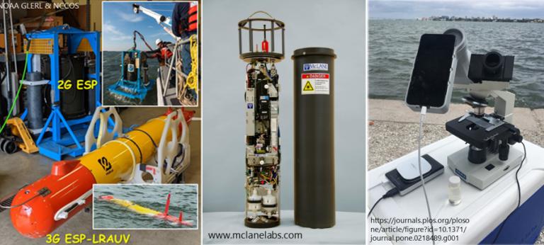 various HAB detecting technologies: Environmental Sample Processor (ESP), Imaging Flow Cytobot (IFCB), HABscope.